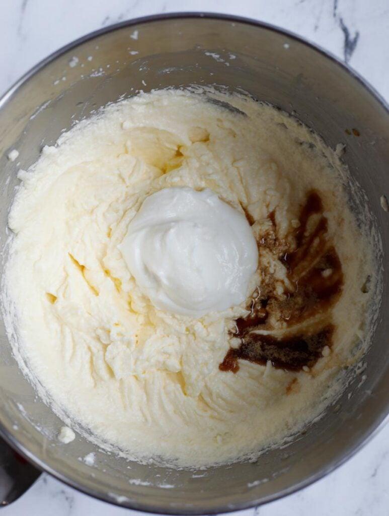 yogurt and vanilla added to the cake batter