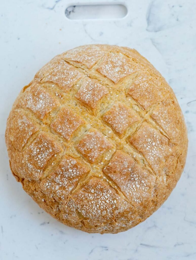 top view of round bread