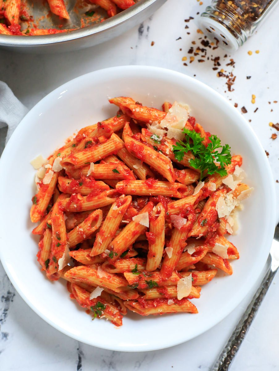 Bowl of spicy arrabbiata.