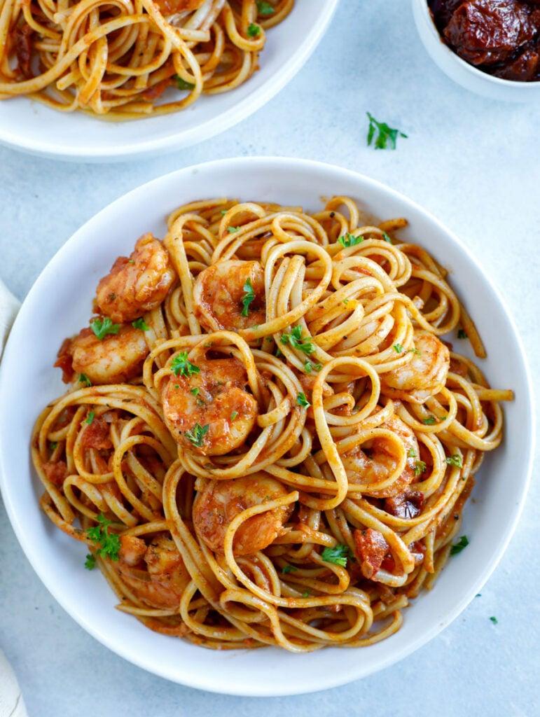 Overhead shot of spicy shrimp pasta.