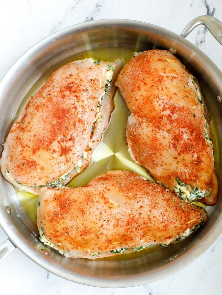 stuffed chicken before pan searing