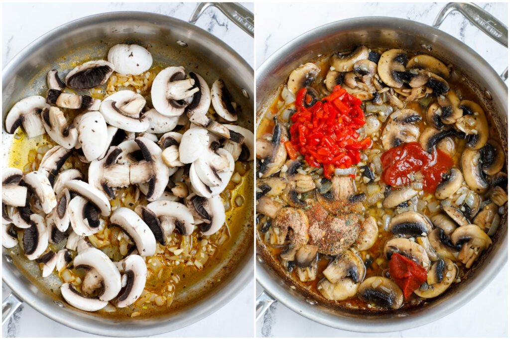 Adding mushrooms and tomato paste to a pan.