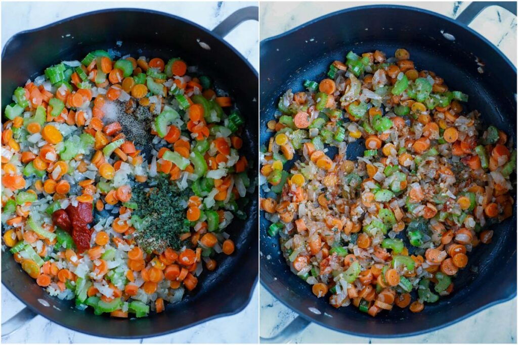 Set of two photos showing spices added to vegetables and mixed.