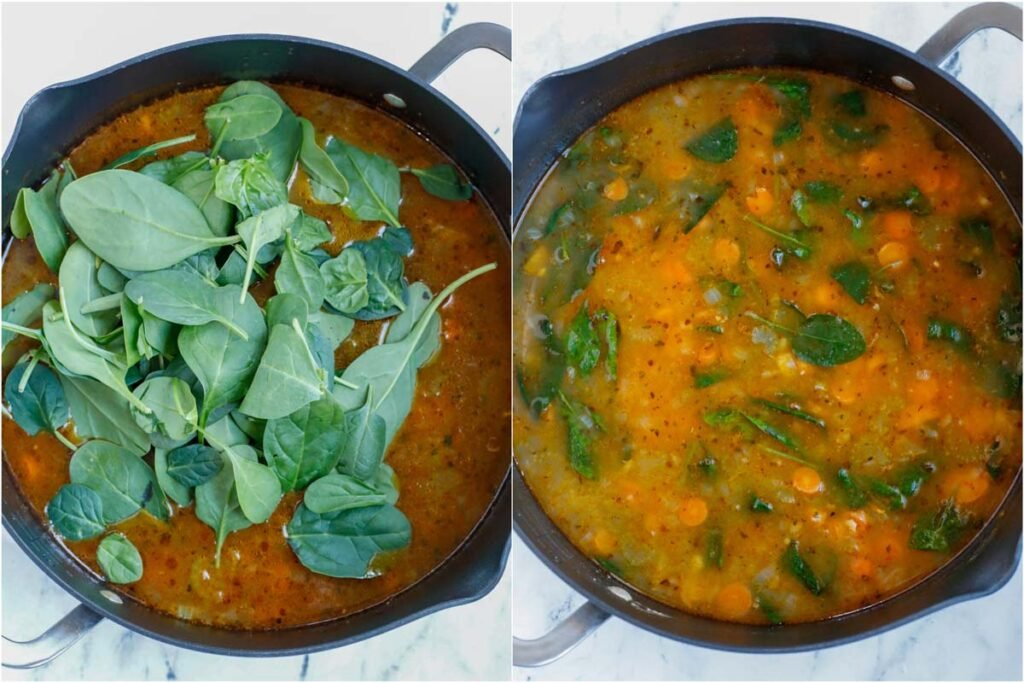 Set of two photos showing spinach being added into a soup and then stirred.