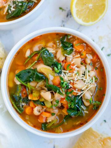 Tuscan white bean soup in a bowl.