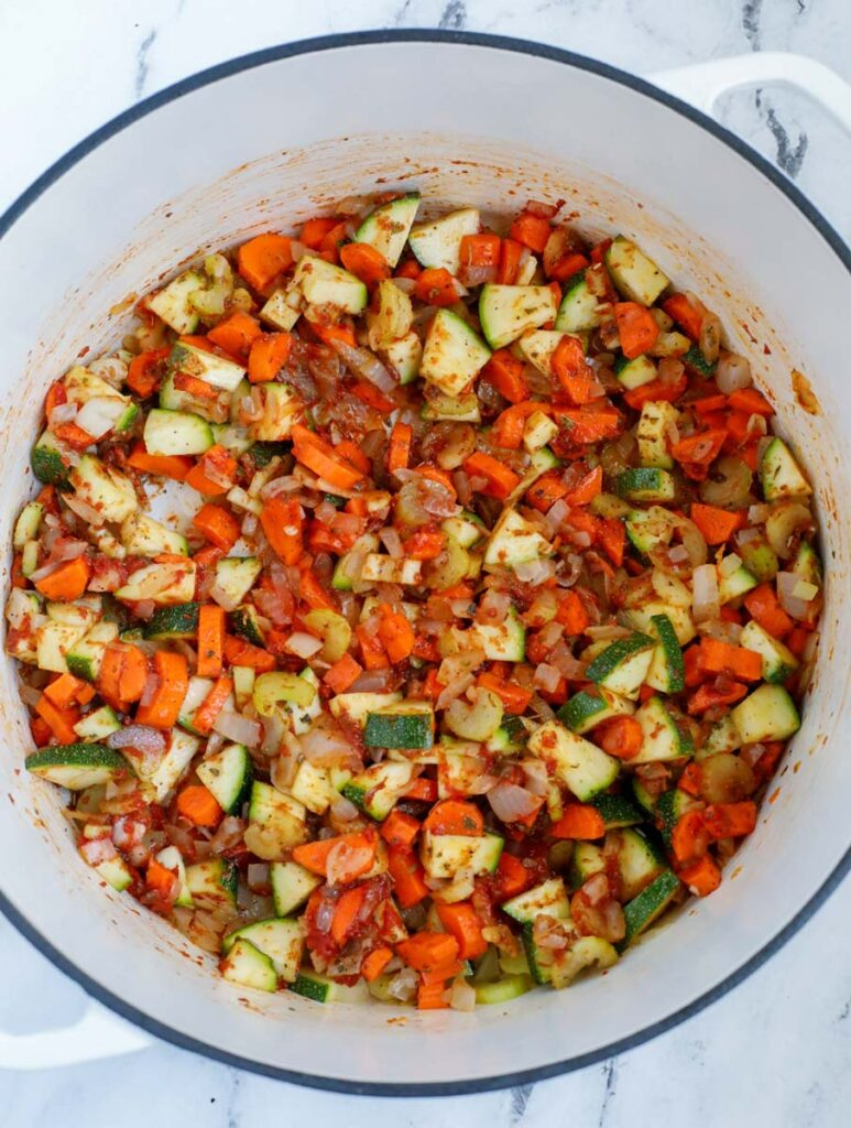 vegetables sauteed with tomato paste and spices