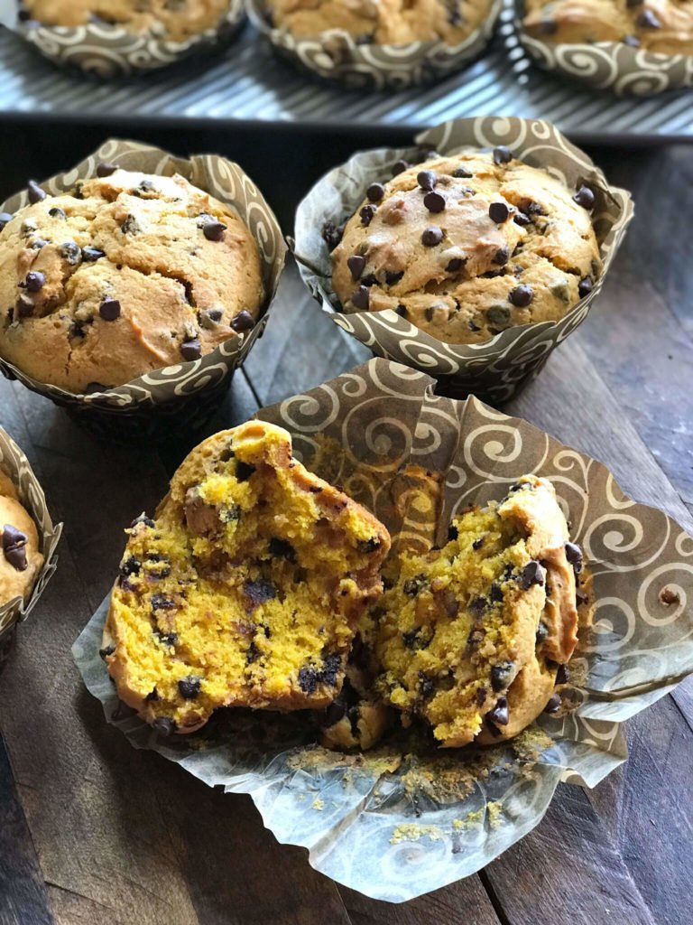 Chocolate Chip Pumpkin Muffins broken open