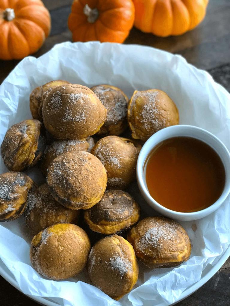 Pumpkin Pancake Bites in a bowl