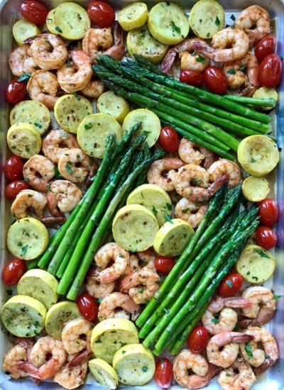 Sriracha Garlic Shrimp Sheet Pan perfect for meal prep