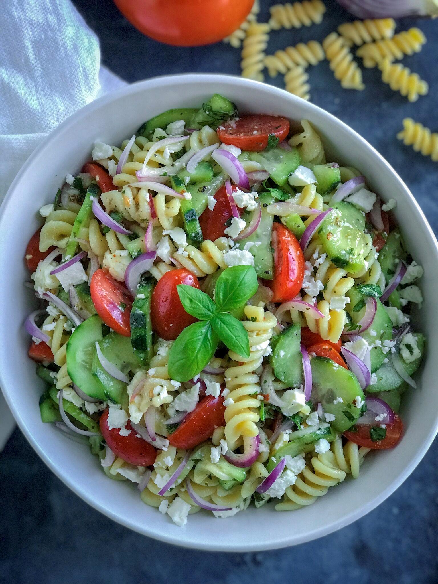 Greek Pasta Salad with lemon vinaigrette