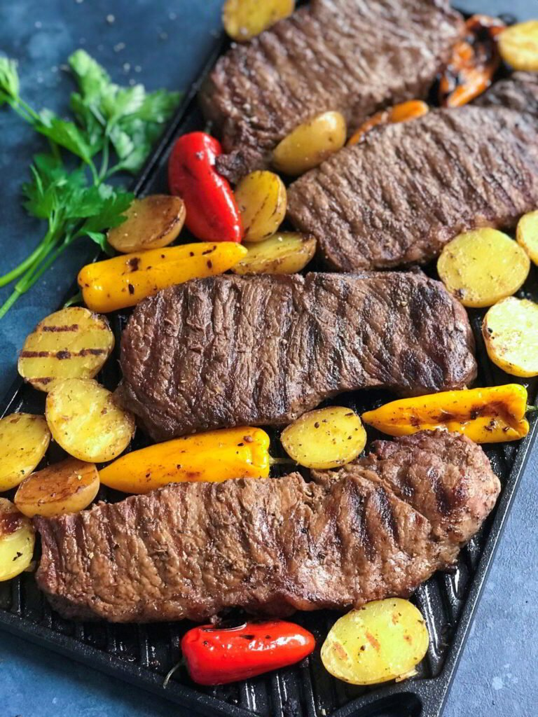 Grilled Teak and Potatoes