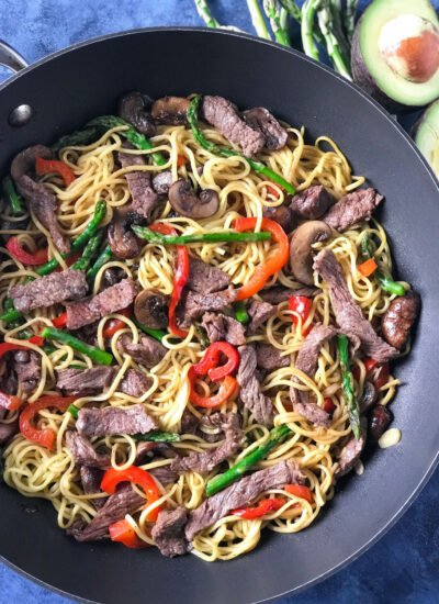 Easy Beef Lo Mein Noodles in a pan