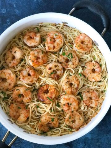 Garlic Parmesan Shrimp Spaghetti