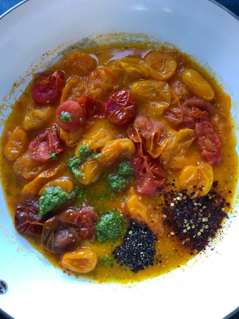 Simple Tomato Pesto Pasta sauce in a skillet