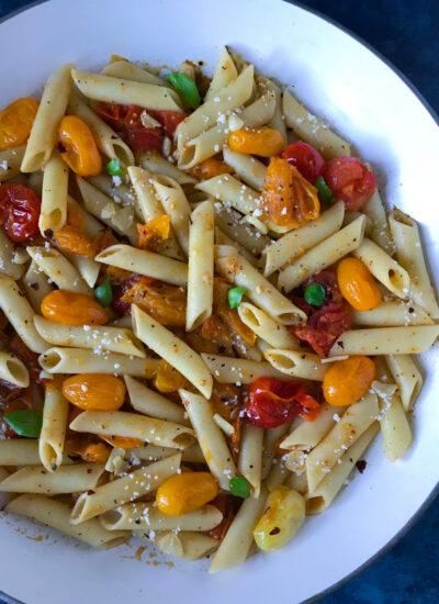 Simple Tomato Pesto Pasta with Parmesan top view