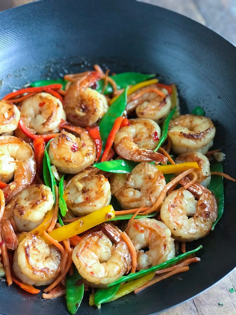 close up of Sweet and Spicy Shrimp in a wok