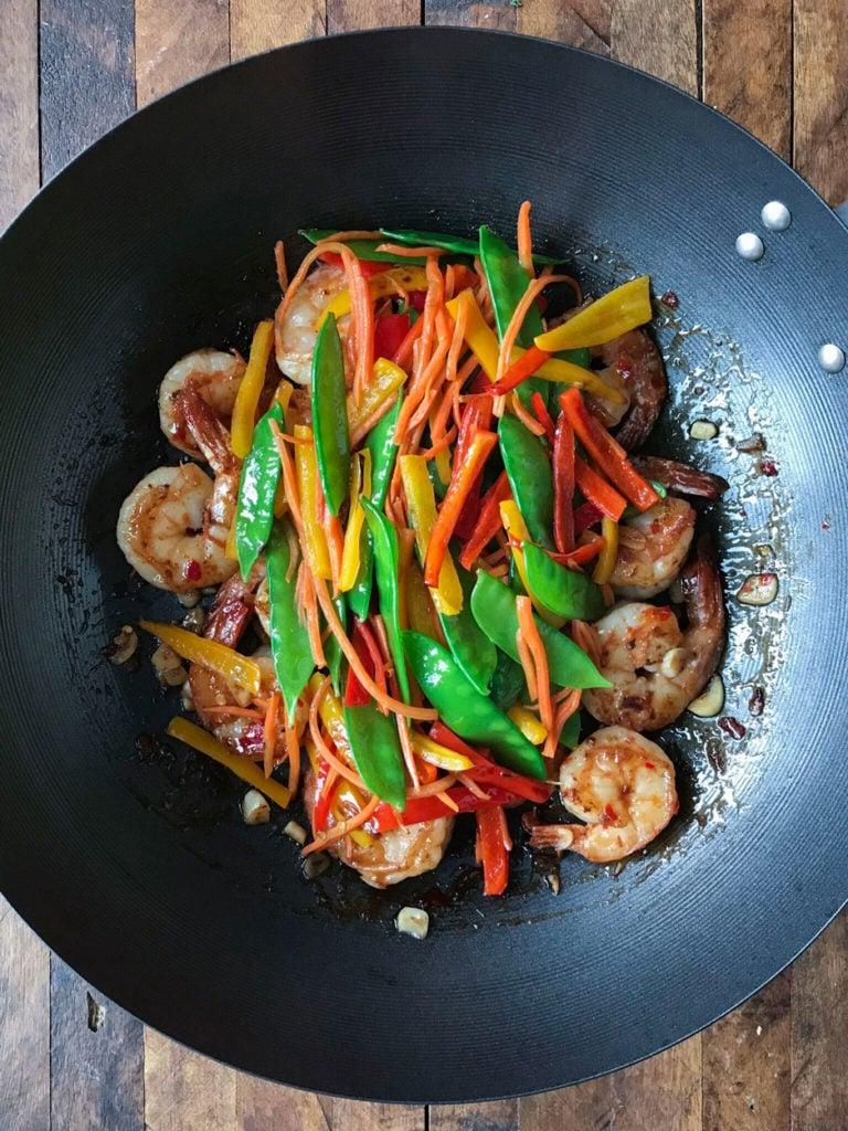 shrimp in a wok