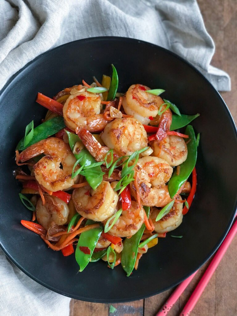 Sweet and Spicy Shrimp in a wok