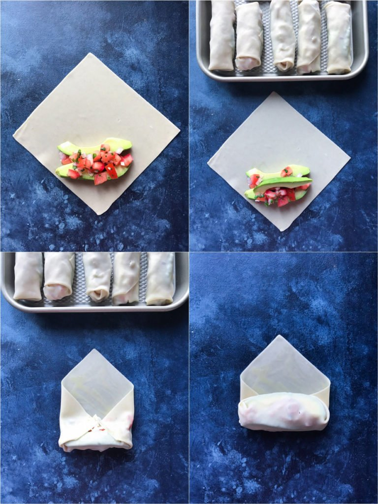 montage showing how to fold Avocado Egg Rolls