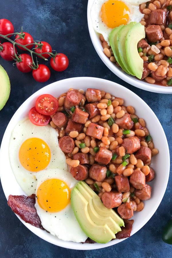 Baked Beans and Sausage Egg Brunch