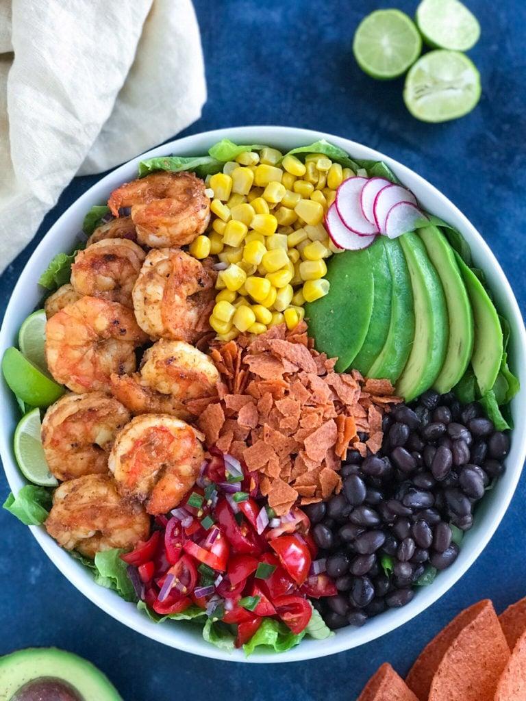 overhead shot of shrimp taco bowl recipe