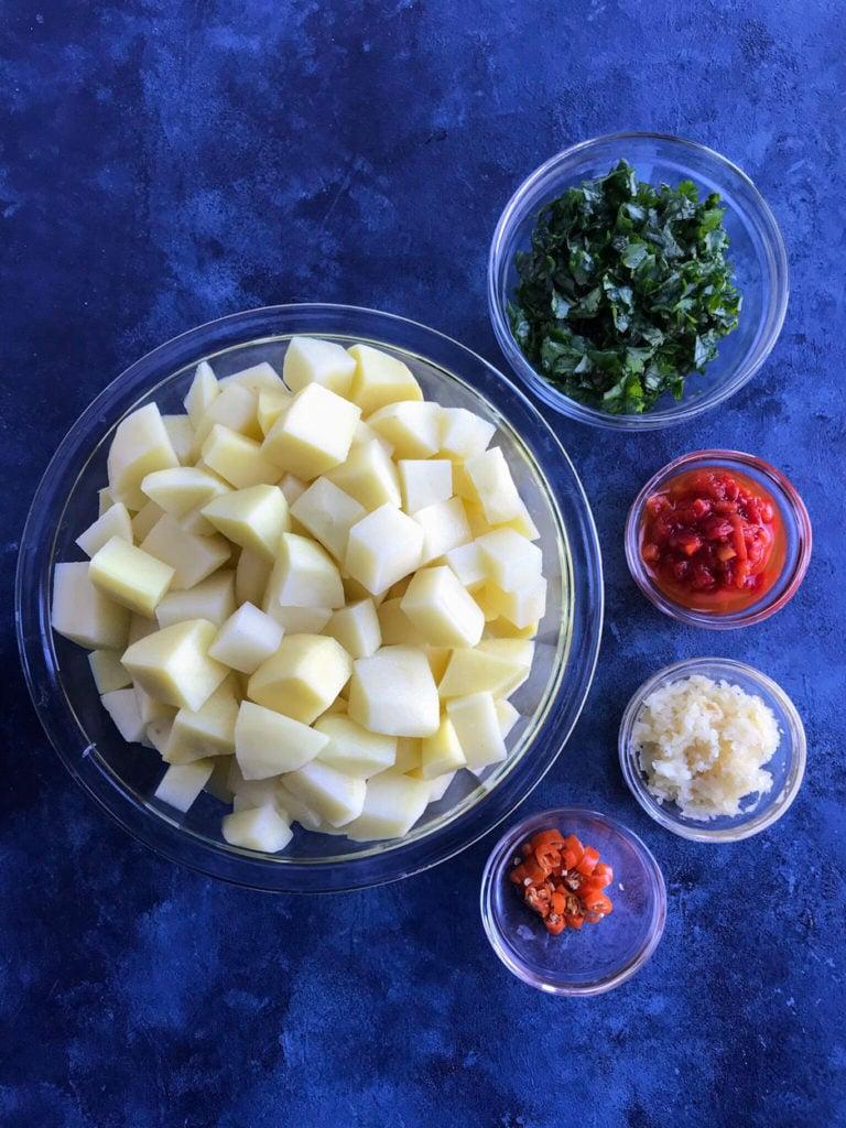 Ingredients to make Batata Harra (بطاطا حارة)