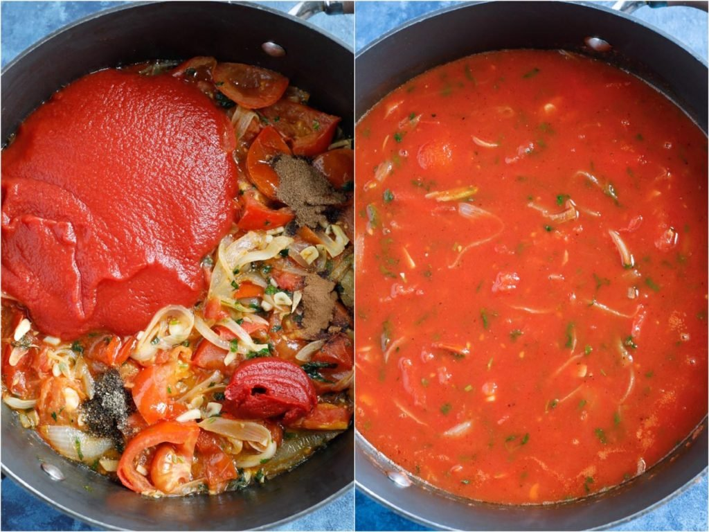 Tomato paste added to the vegetables and cooked into a sauce