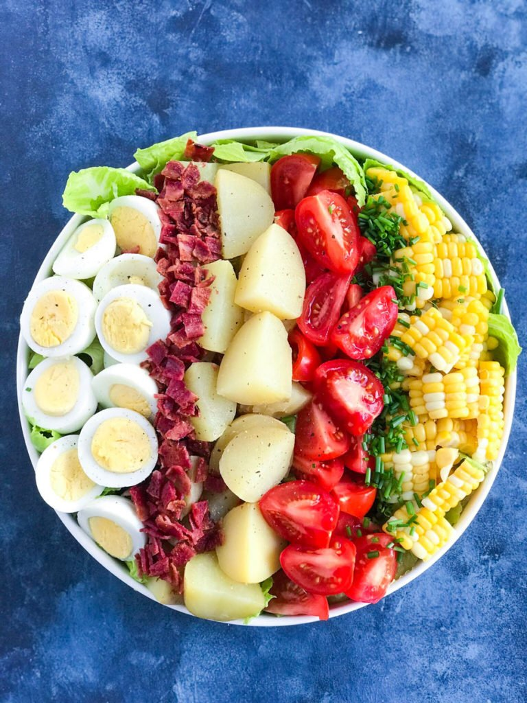 Potato Cobb Salad in a bowl without dressing