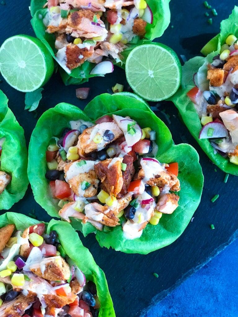 top down shot of Salmon Lettuce Wrap