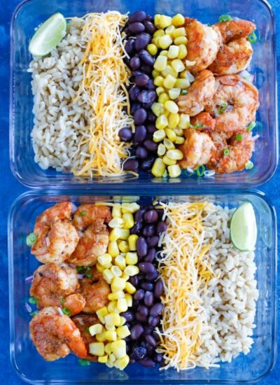 Shrimp Taco Meal Prep in a glass container