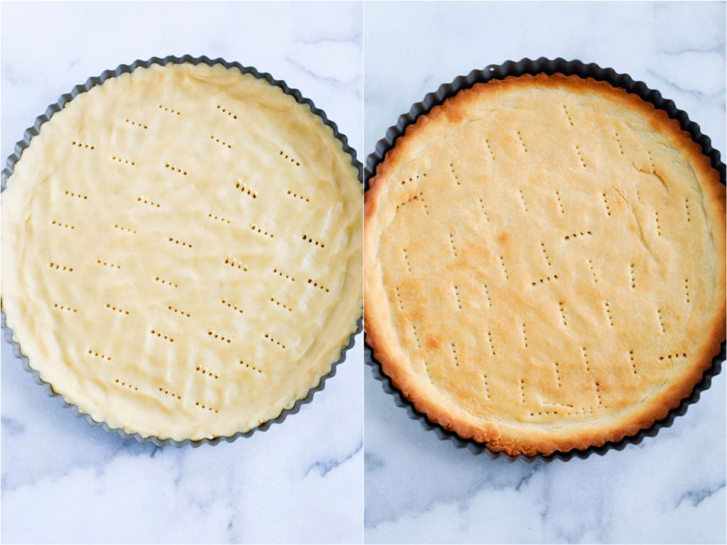 Preparing the tart crust.