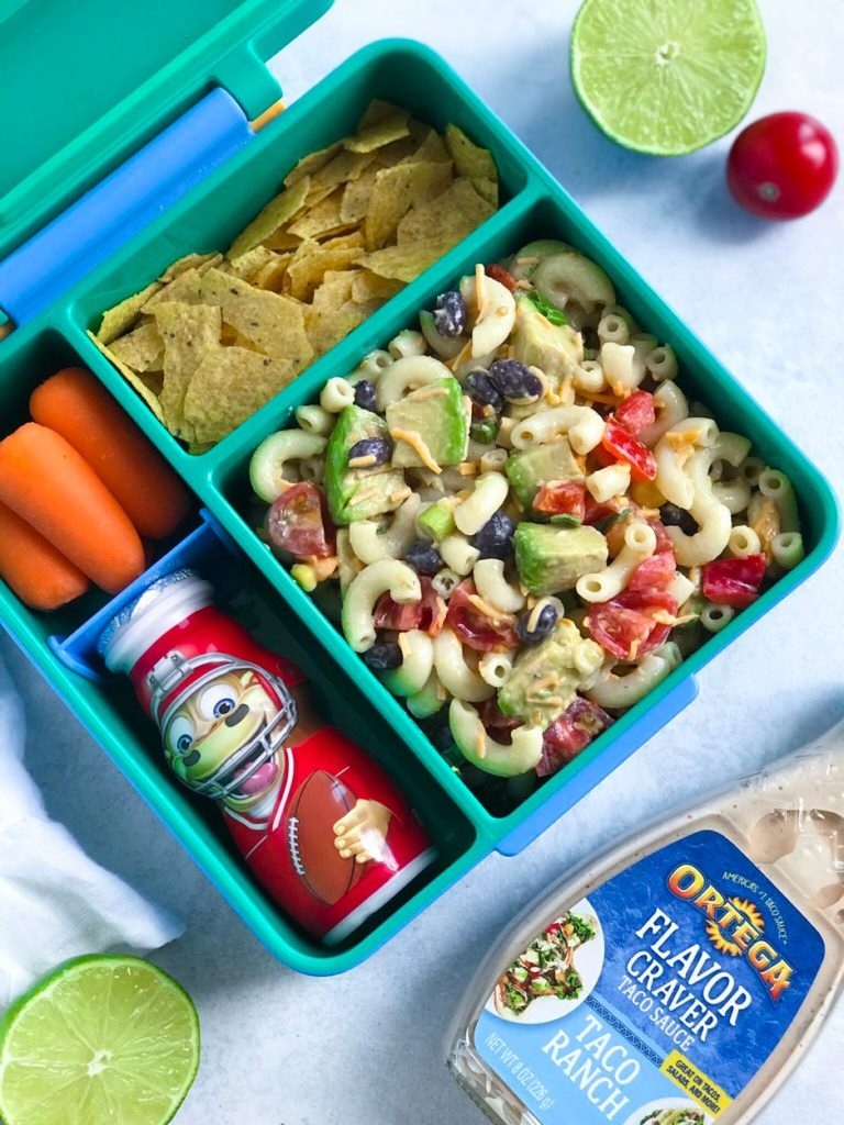 Taco Ranch Pasta Salad in a lunchbox