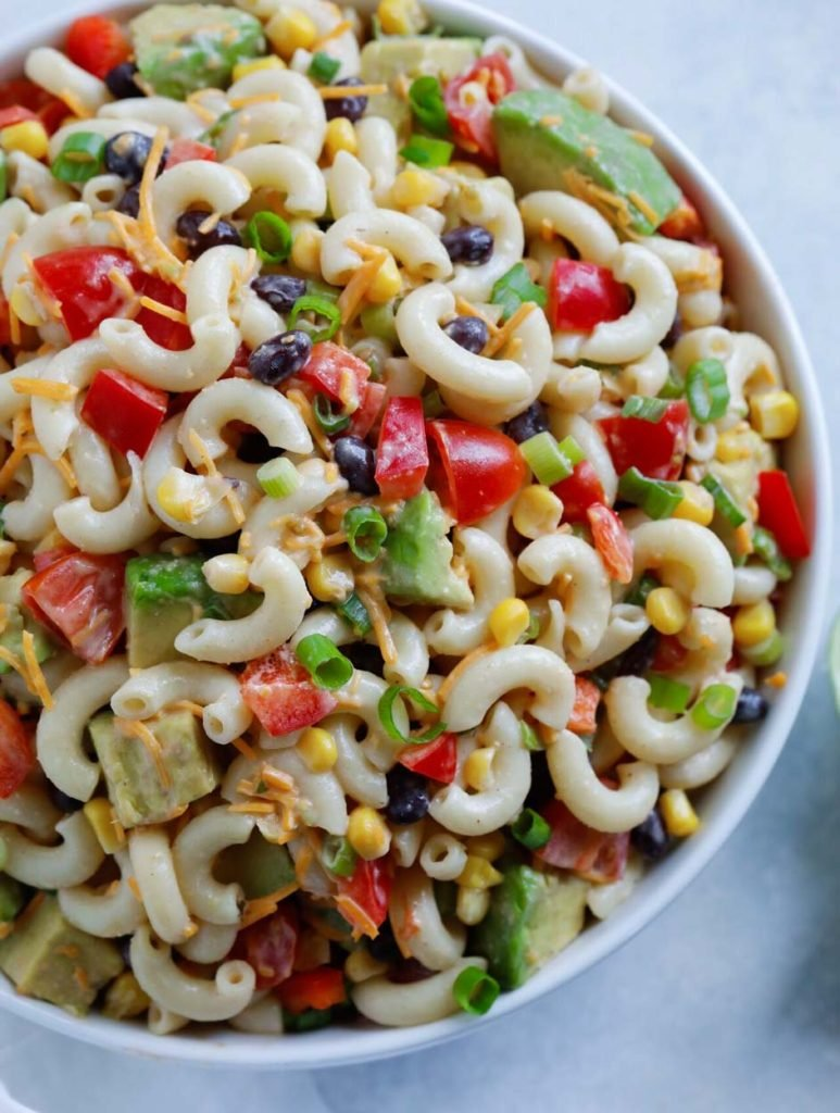 Taco Ranch Pasta Salad in a bowl ready to serve