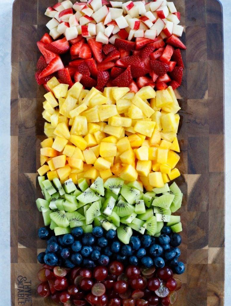 Fruits chopped into chunks