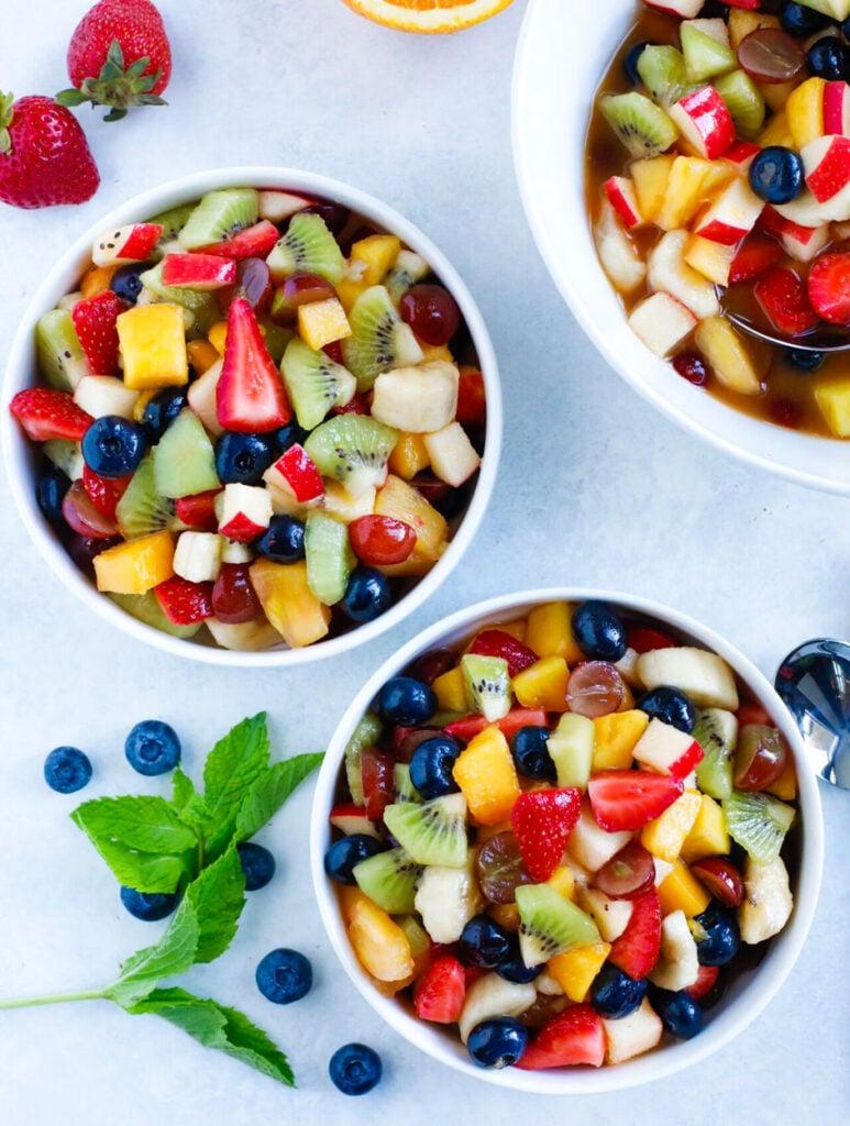 easy fruit salad served in bowls