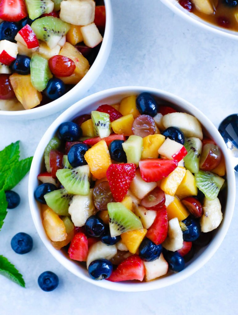 fruit salad served in two bowls