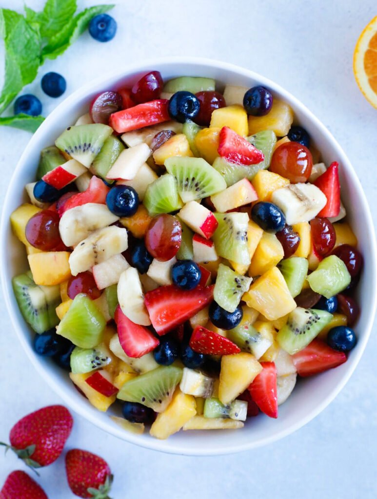 Fruit Salad B served in a large white bowl