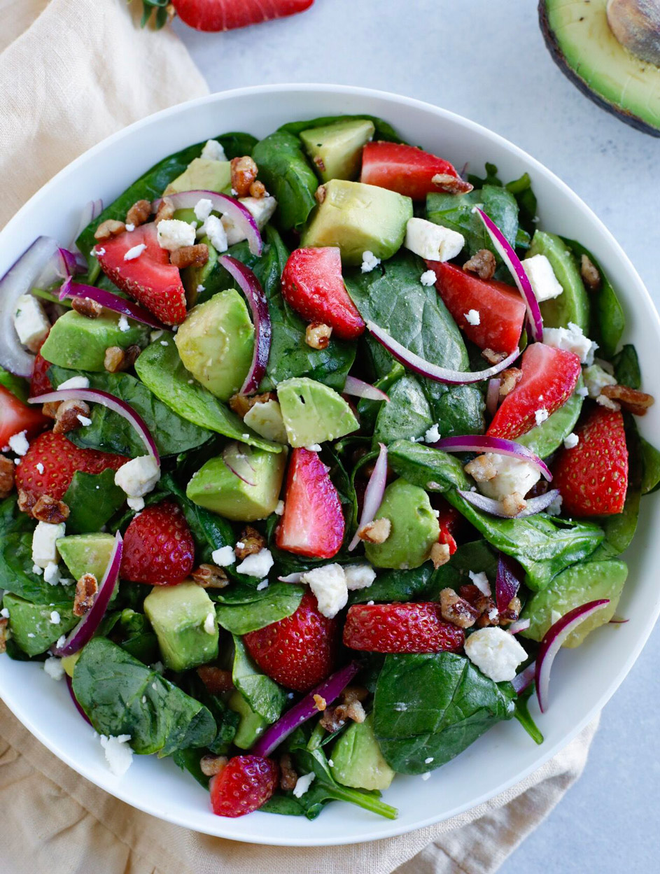 Strawberry Spinach Salad With Feta Recipe Cookin With Mima