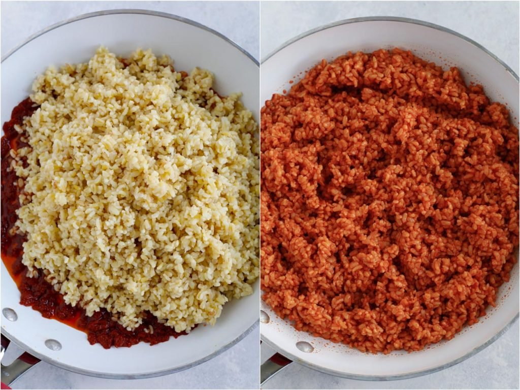 The bulgur being mixed with the tomato sauce in a pan