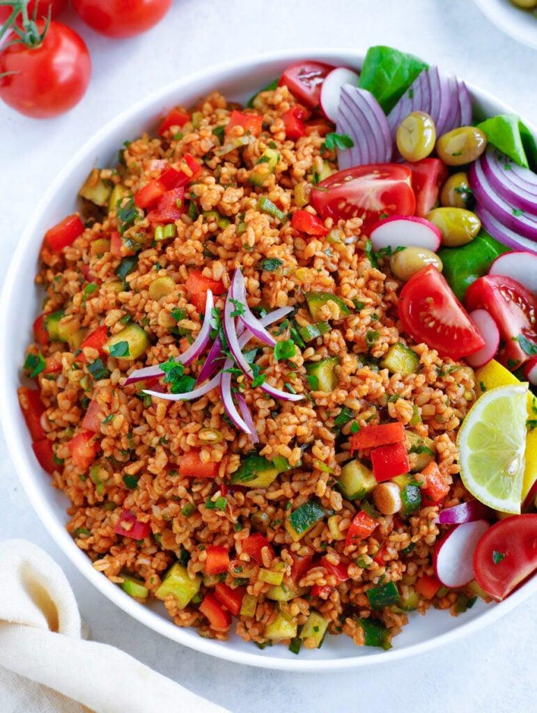 Turkish Bulgur Salad (served in a large white bowl