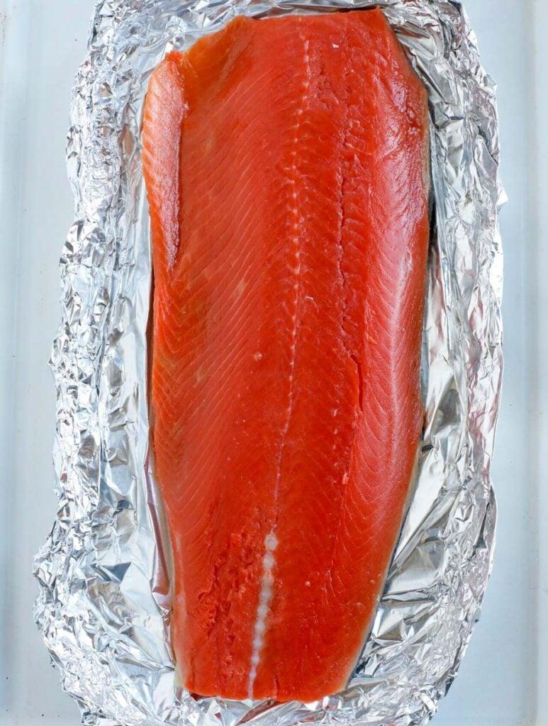 Salmon fillet in foil