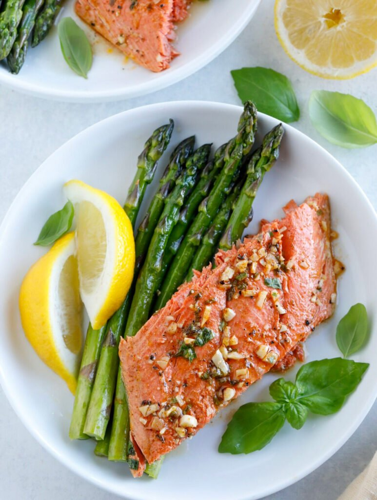 Baked Honey Garlic Salmon with asparagus on plate
