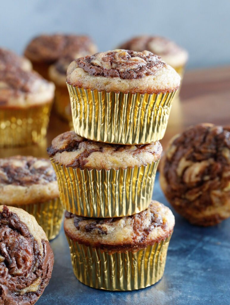 stack of Nutella Swirl Banana Muffins.