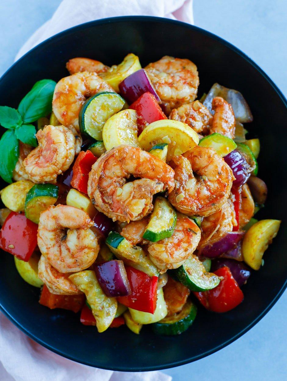 Shrimp and Vegetables served in a black bowl