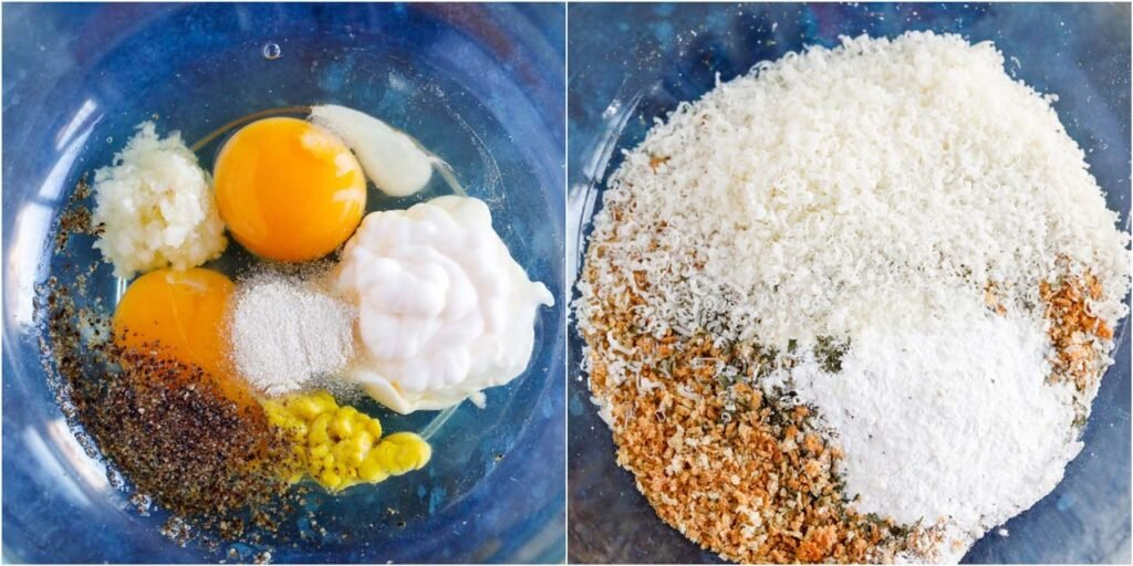 wet and dry ingredients for Baked Parmesan Crusted Chicken coating