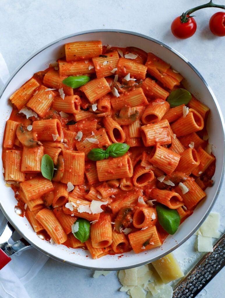 Creamy Red Pepper Pasta in a skillet
