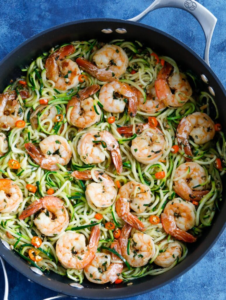 Zucchini Noodles with Shrimp in a skillet