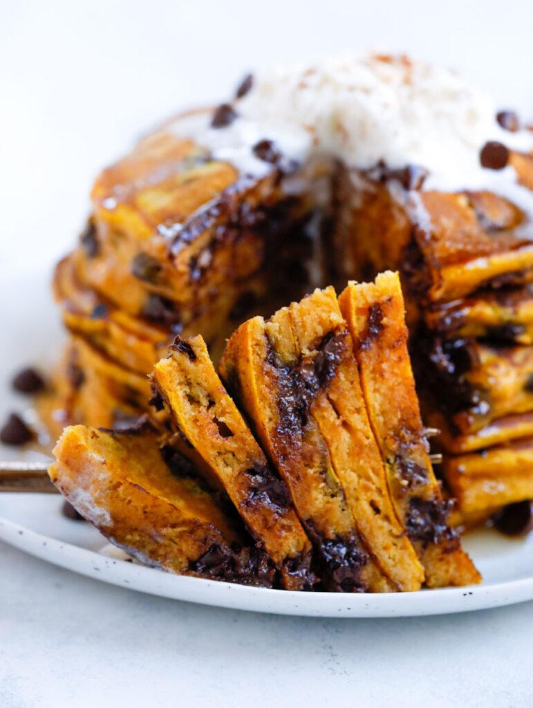 Cut up Pumpkin spice  Pancakes