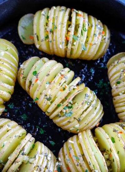 Baked hassleback potatoes with cilantro
