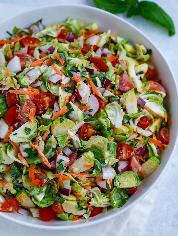 top down shot of brussels sprouts salad